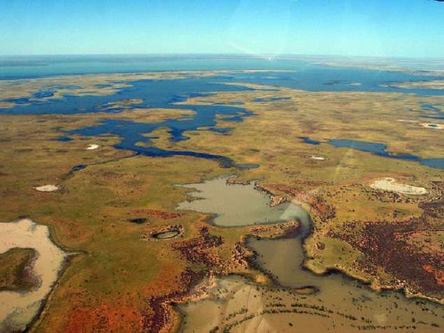 Aerial view of Lake Gregory, Western Australia