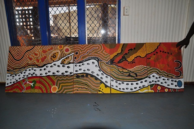 The Parnkupirti Creek painting finished on the left side, awaiting additional detail on the right. Photo by David Leece.