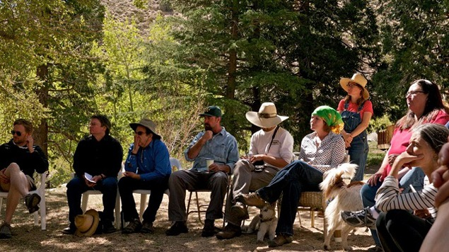 Talking about water and soils at the De La Cour Ranch. Photograph by Adam Levine, Courtesy of the Metabolic Studio, 2012.