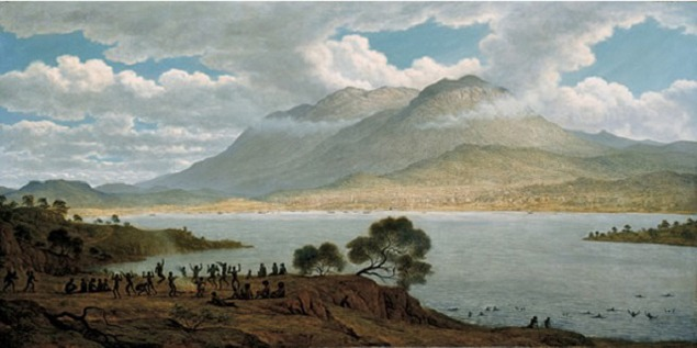 John Glover (England b. 1767 – Australia d. 1849) Mount Wellington and Hobart Town from Kangaroo Point 1831–33, 1834, oil on canvas. Purchased with funds from the Nerissa Johnson Bequest 200. Collection of the National Gallery of Australia and Tasmanian Museum and Art Gallery.