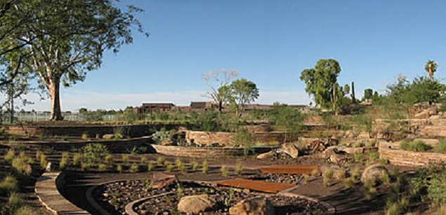 Lorna Jordan, Terraced Cascade (Scottsdale, Arizona), 2002-2007.  This environmental artwork is also a garden and an outdoor theatre designed as a miniature watershed and abstraction of the human body. Photo by Lorna Jordan.