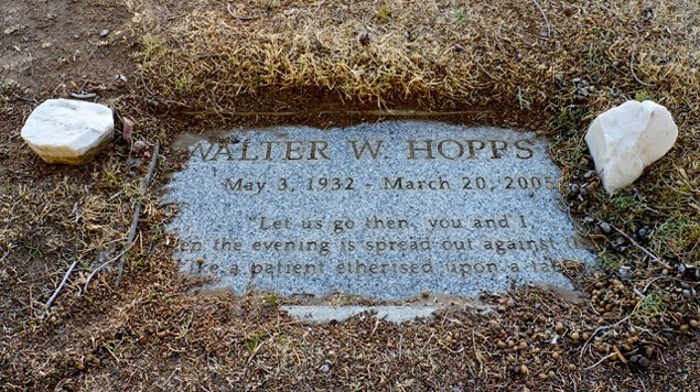 The grave marker of Walter Hopps in the Lone Pine Cemetery. Photograph by Adam Levine, Courtesy of the Metabolic Studio, 2012.