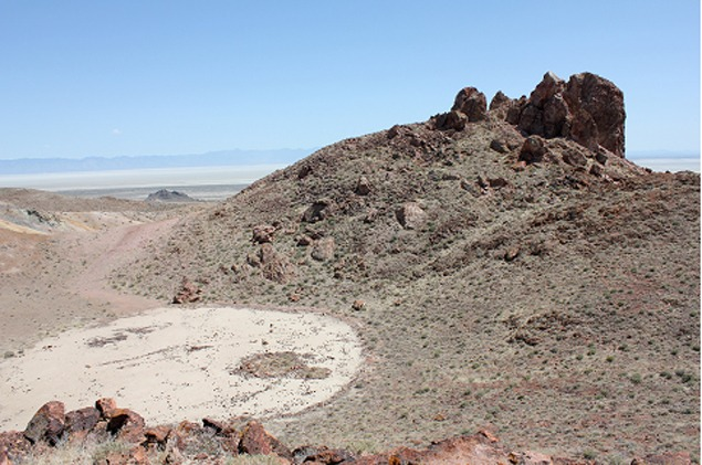 Micro-playa high in the Mopong Hills with the remnants of a geoglyph, and in the background the immense Carson Sink.