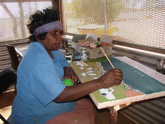 """Shirley Yoomarie painting """"Working with scientists"""""""
