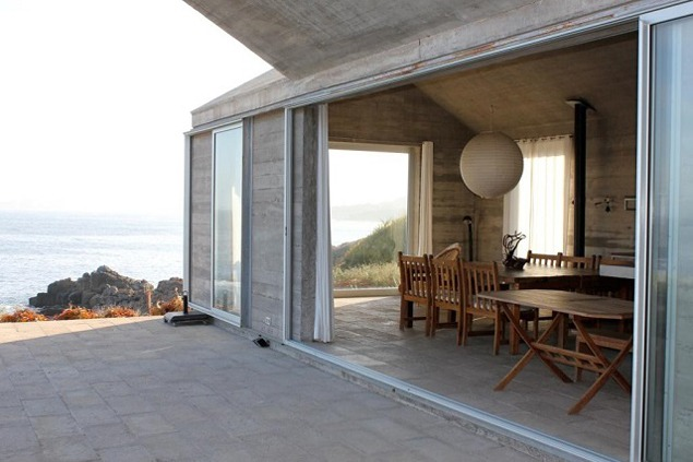Kitchen at Casa Larrain with the coast of Chile below the house. Photo by Bill Fox