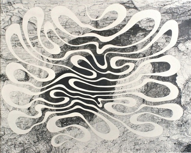 "Linda Fleming, ""White Cave"" 2006, graphite on rag paper, 57""h x 67""w. Photograph courtesy of the artist."