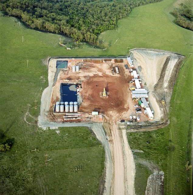 Oil pad on Davis prairie one week after fracking. Photo by Terry Evans.