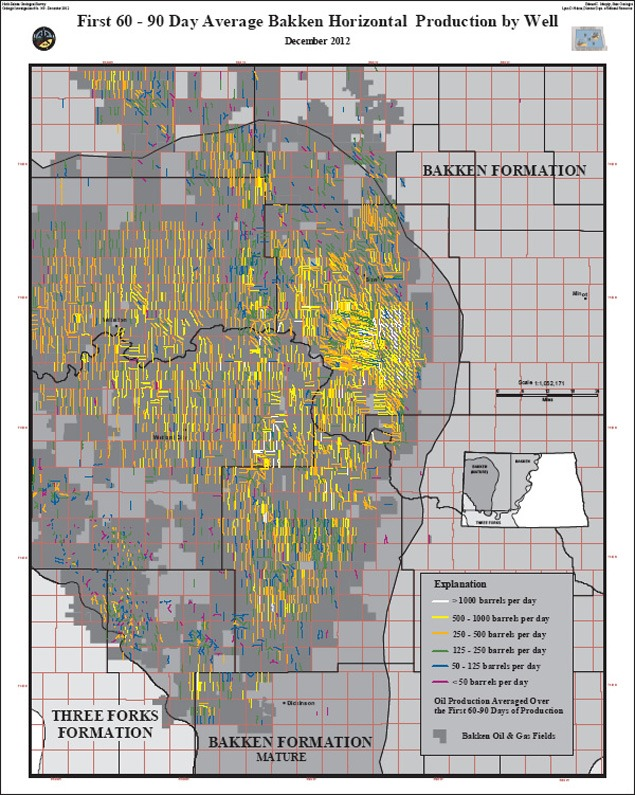 This graphic, prepared by the North Dakota Geological Survey, shows the wells in the North Dakota Bakken and their production during the first 60-90 days. Each line indicates the lateral portion of a well. Most Bakken wells are drilled about two miles down and two miles out, and fracking takes place along the lateral portion. In this graphic, you see more wells and shorter laterals in the area just south of Stanley than around Williston. This reflects the evolution of the oil play from northwest-southeast oriented laterals to north-south (standup), long laterals as described in the interview. The wells south of Stanley are older than those around Williston.