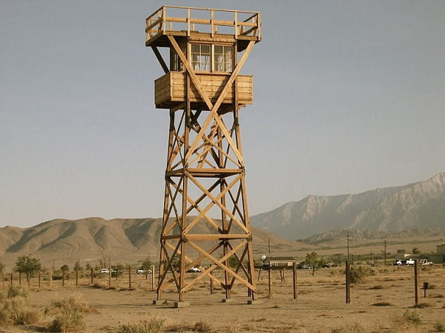 Replica of an historic watch tower at the Manzanar National Historic Site, built in 2005. Photograph by Gann Matsuda, 2007.