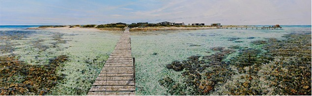 Larry Mitchell, Beacon Island--Abrolhos. Oil on canvas, 1 meter x 3 meters, 2010., image courtesy of the artist.