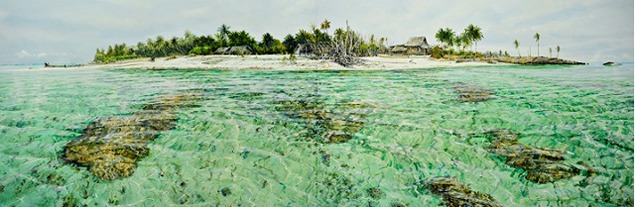 Larry Mitchell, Deserted Island, New Guinea. Oil on canvas, 1 meter x 3 meters, 2010, image courtesy of the artist.