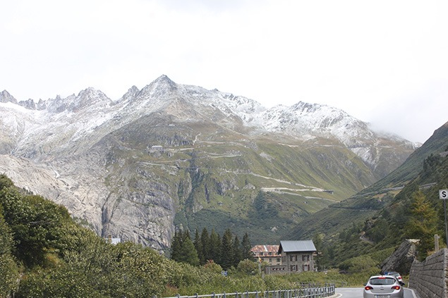 In the upper Valais, the Furka Pass road ahead. Photo by Sara Frantz.
