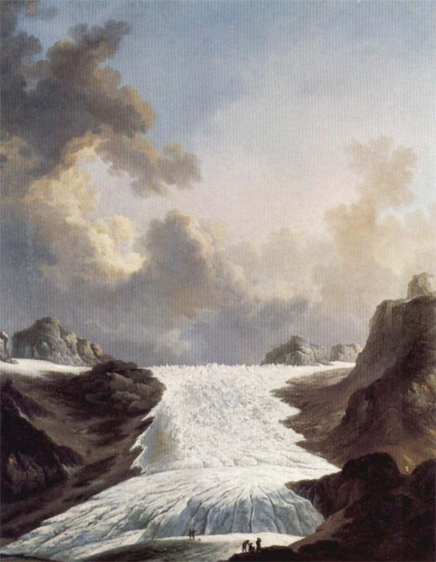 The Rhône Glacier as painted by Johann Heinrich Wüest circa 1795. Note the artist painting in the foreground.