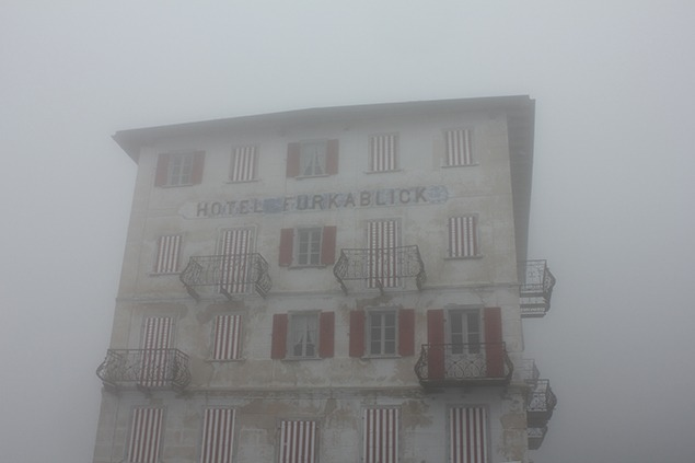 Fog closing in on the Furka Blick Hotel after lunch. The Furka Pass sits high in one of the snowiest regions of the Alps, and the pass will close in a few weeks. Photo by Sara Frantz.