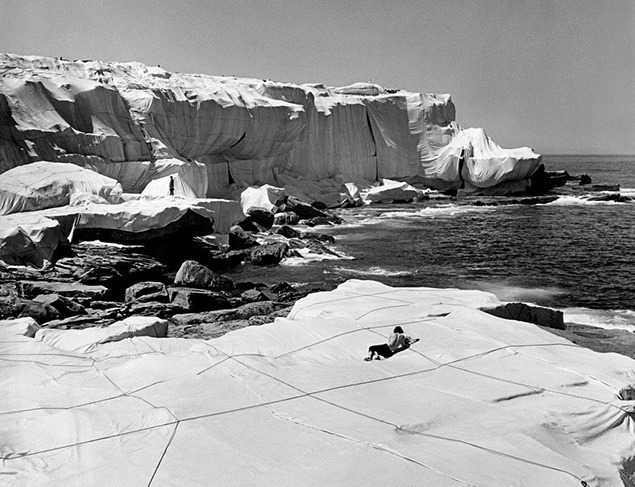 Christo and Jeanne Claude's Wrapped Coast done on the shoreline south of Sydney, Australia in 1968-69. Photo courtesy of Christo and Jeanne-Claude website.