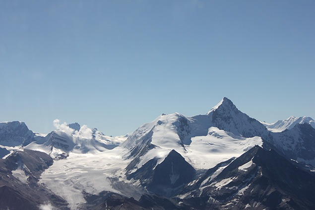 The north face of the Weisshorn seen from above the Valais at 3,500 meters. Photo by Sara Frantz.