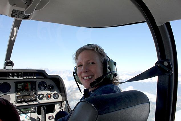 CA+E Archivist Sara Frantz on duty above the Alps. Photo by Bill Fox.