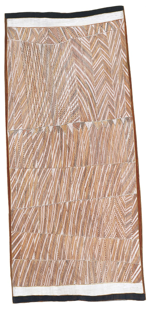 John Mawurndjul, Mardayin ceremony, 2000. Natural pigments on eucalyptus bark. 170 x 78 cm. Don Mitchell Bequest Fund 2000, Art Gallery of New South Wales, Sydney. © John Mawurndjul Tarrawarra Museum of Art.