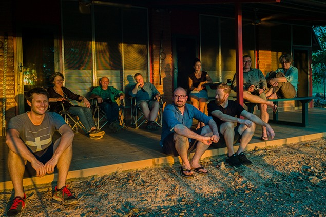 The Arnhembrand team enjoying an Arnhem sunset with Henry Skerritt front and center. Photo by Hugo Sharp.