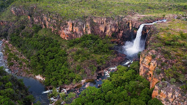 A river pours off the Arnhem Land plateau in Kakadu National Park. Image from australia.com.