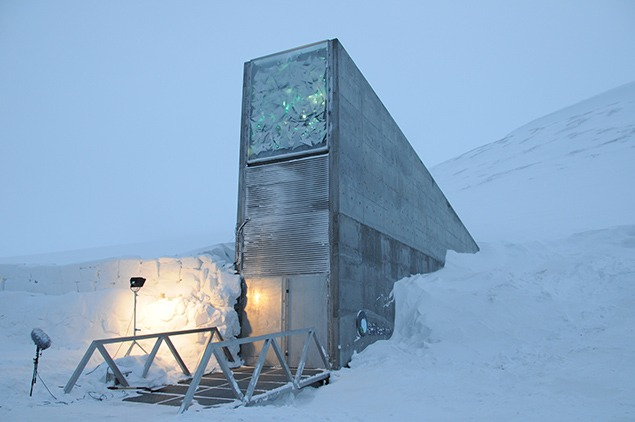 The Svalbard Global Seed Vault. Note the illuminated artwork by Dyveke Sanne. Architect: Peter W. Söderman at Barlindhaug Consult AS. Image courtesy of the Norwegian Ministry of Agriculture and Food.