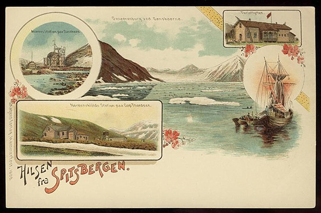 "Hilsen fra Spitsbergen (""Greetings from Spitsbergen"") printed by G. Hagens forlag in 1899."