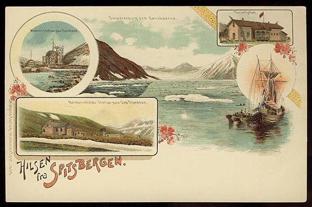 "Hilsen fra Spitsbergen (""Greetings from Spitsbergen"") printed by G. Hagens forlag in 1899."