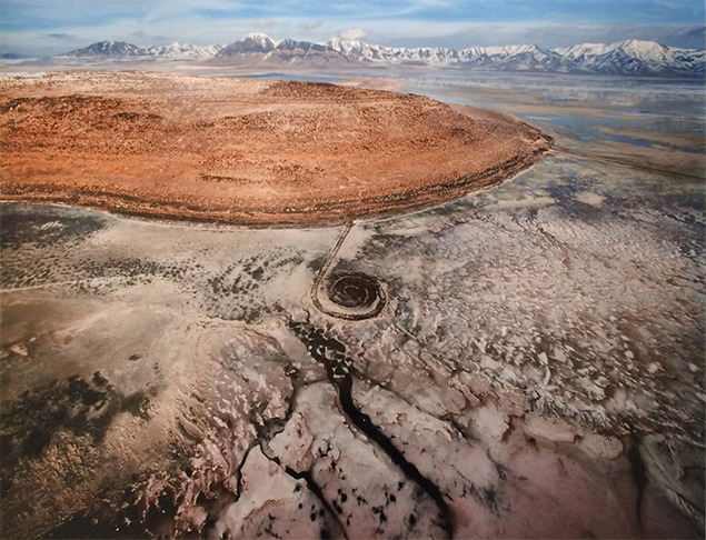 Robert Smithson's Spiral Jetty in 2013 as photographed by Gianfranco Gorgoni.