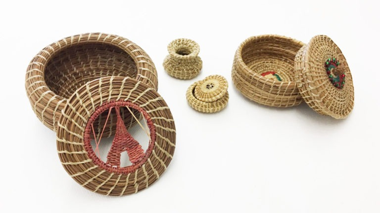 Miniature Pine Needle Baskets