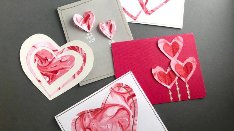 Kids' Corner: Hand-Marbled Valentine Cards