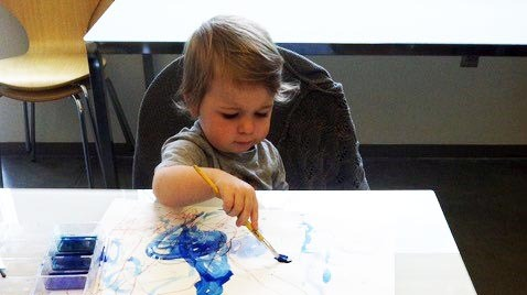 Sensory Play in Paint for Babies