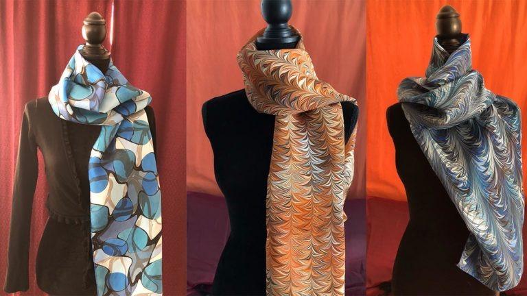 Textile Marbling on Scarves