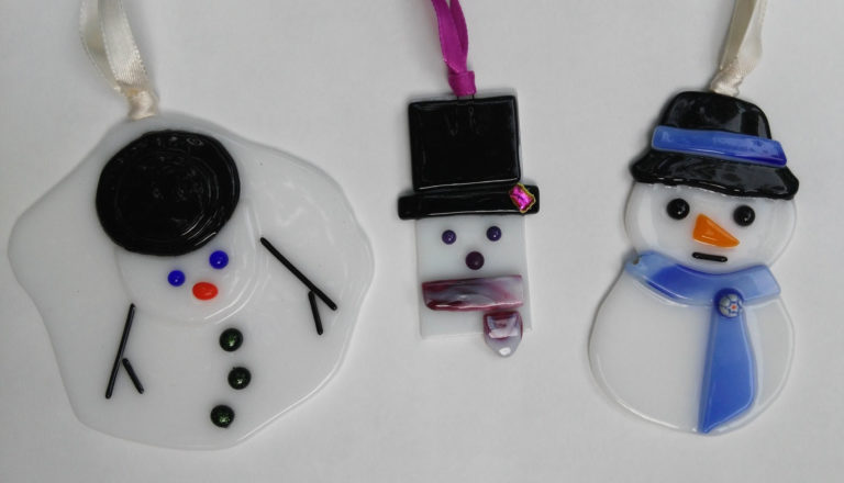 Fused Glass Snowman